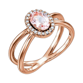 Other Gemstone Ring Rose Gold Morganite Diamond Ring