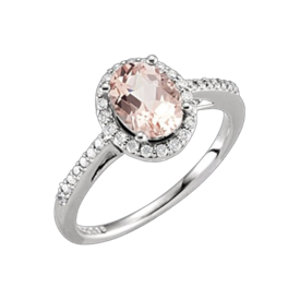 Other Gemstone Ring 14kt Gold Morganite and Diamond Ring