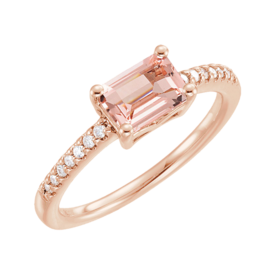 Other Gemstone Ring Emerald Cut Morganite and Diamond Ring