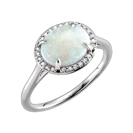 Opal Rings White Gold Opal and Diamond Ring