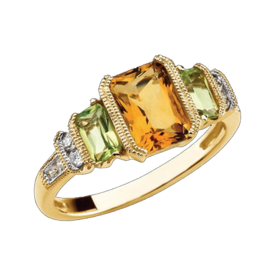 Peridot Rings Peridot Citrine Diamond Ring
