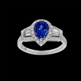 Breathtaking Pear Tanzanite Diamond Ring