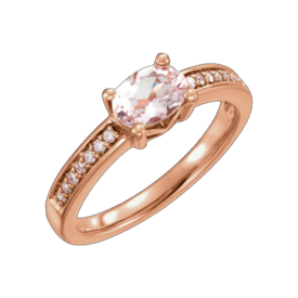 Other Gemstone Ring Lovely Morganite and Diamond Ring