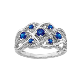 Sapphire Rings 14k White Gold Fancy Sapphire Ring