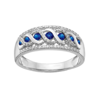"Sapphire Rings 14k White Gold ""S"" Style Sapphire Ring"