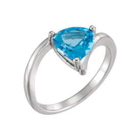 Blue Topaz Rings Trillion Swiss Blue Ring
