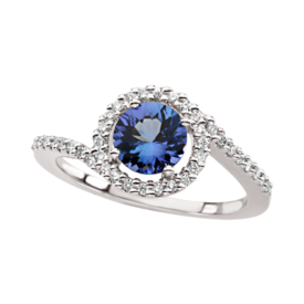 Swirl Design Tanzanite Diamond Ring