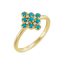 Other Gemstone Ring Turquoise & Diamond Ring