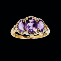 Diamond & Amethyst Oval Ring