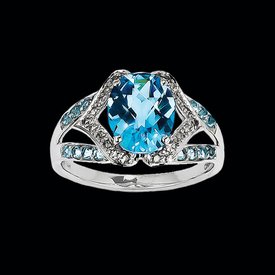 Fancy Swiss Blue Topaz & Diamond Ring