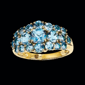 Swiss Blue Topaz Cluster Ring