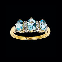 Two Tone Blue Topaz Three Stone Ring