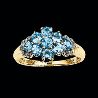 14K Gold Blue Topaz Cluster Ring