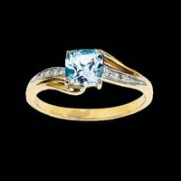 Square Blue Topaz Ring