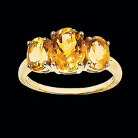 Citrine Three Stone Ring