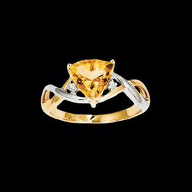 Citrine Two Tone Trillion Ring
