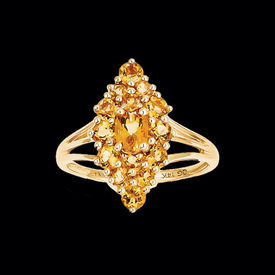 Citrine Cluster Marquise Ring