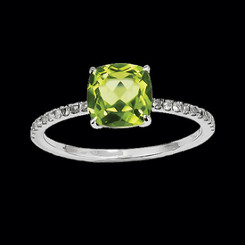 Peridot Rings White Gold Peridot & Diamond Ring