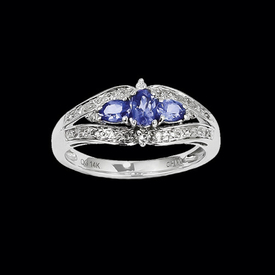 Pretty White Gold Tanzanite Diamond Ring