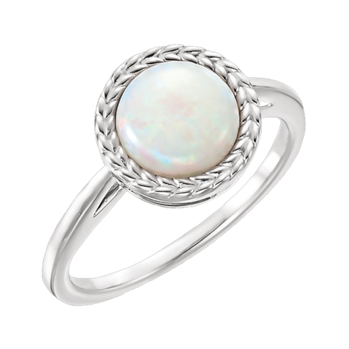 Wheat Border Opal Ring