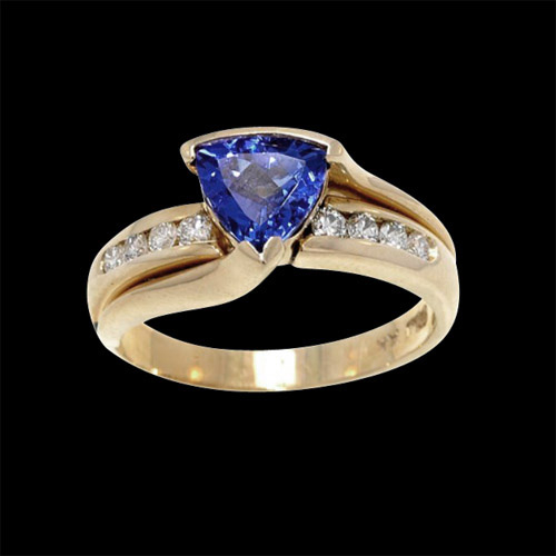 Trillion Tanzanite And Diamond Ring