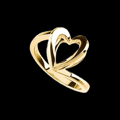 Shadow Box Gold Heart Ring