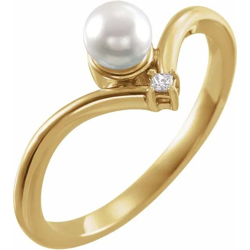 14K Gold Akoya Cultured Pearl and Diamond Accent Ring