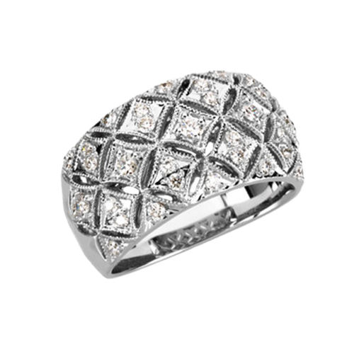 Quilted White Gold Diamond Ring