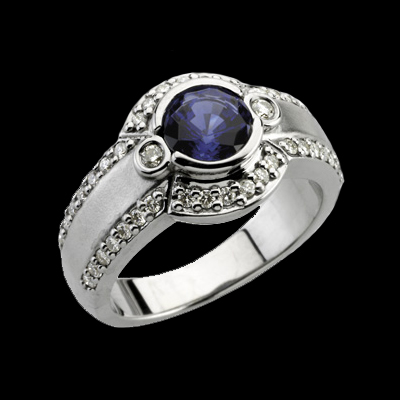 Platinum Gemstone Diamond Ring