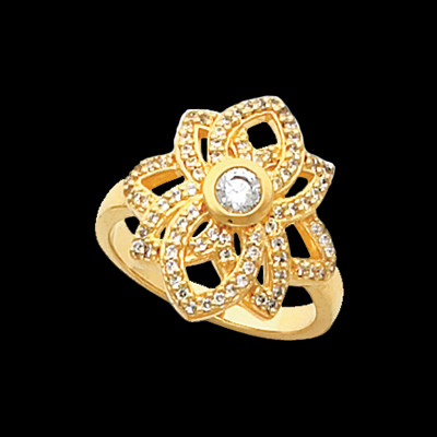 Lotus Diamond Right Hand Ring