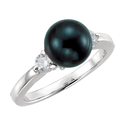 White Gold Akoya Pearl Diamond Ring
