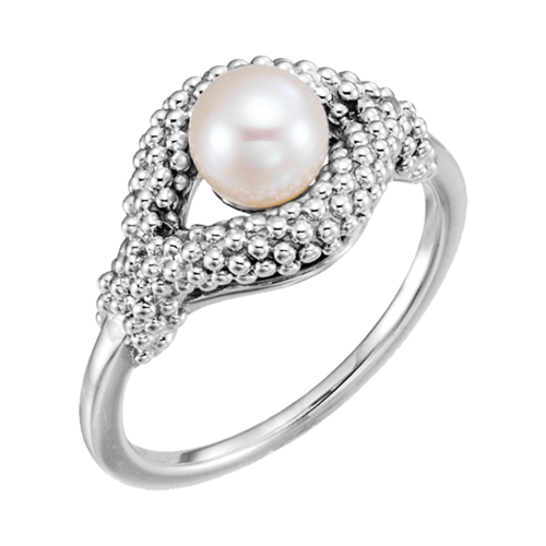 Gold Bead Design Pearl Ring