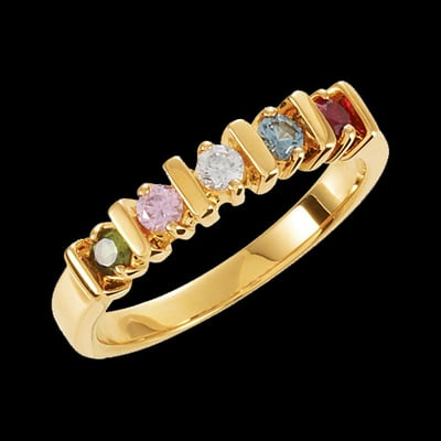 Bar Design Family Birthstone Ring