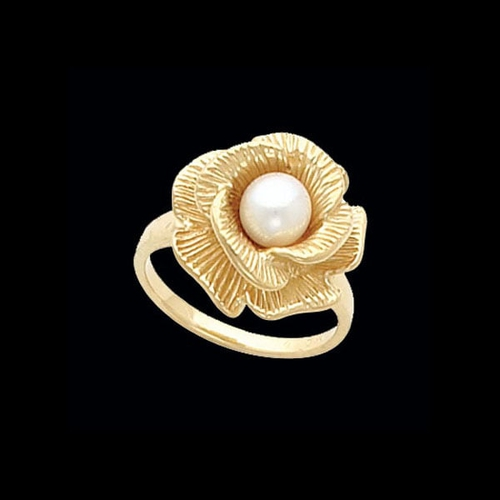 Gold Floral Pearl Ring
