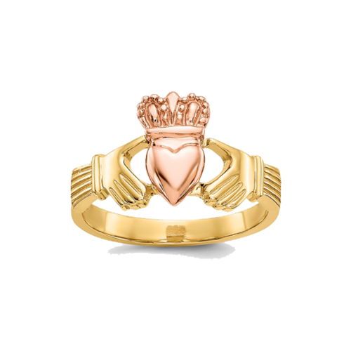 14k Two Tone Gold Claddagh Ring