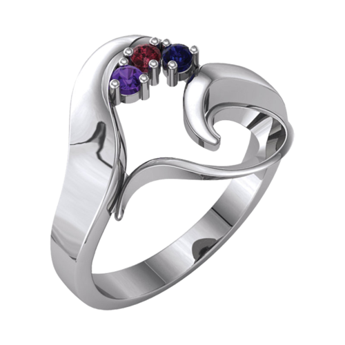 Flowing Heart Mothers Ring