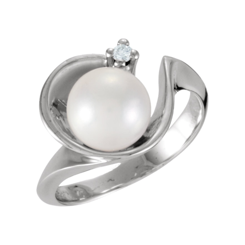 Cradled Pearl and Diamond Ring