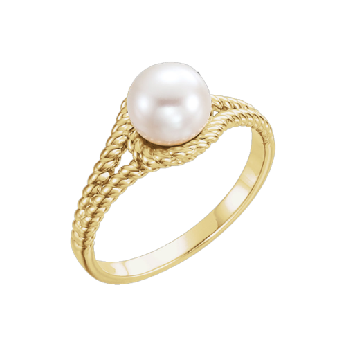 Pearl & Gold Rope Style Ring