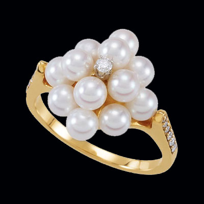 Pearl Cluster and Diamond Ring
