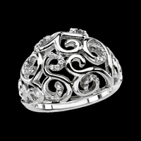 Platinum Rings Platinum Diamond Scroll Ring