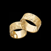 Flower Engraved Wedding Band