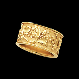Gold Rings Leaf & Berry Ladies Gold Band