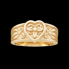 Gold Rings Fashion Heart Gold Band