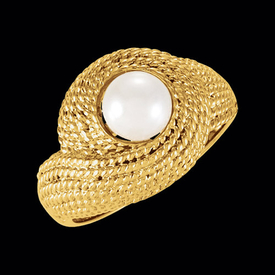 Gold Rope and Pearl Ring