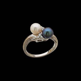 White and Black Akoya Pearl Ring