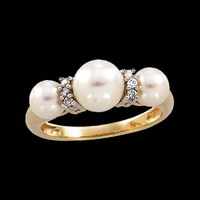 Three Pearl and Diamond Ring
