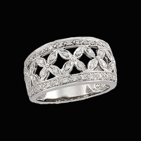 Pretty White Gold Diamond Band