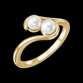 Pearl Rings Two Stone Cultured Pearl Ring