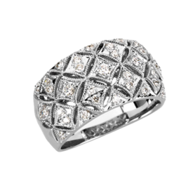 Diamond Rings Quilted White Gold Diamond Ring