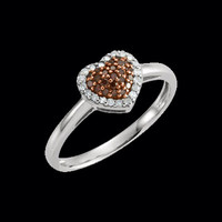 Diamond Rings Chocolate Diamond Heart Ring